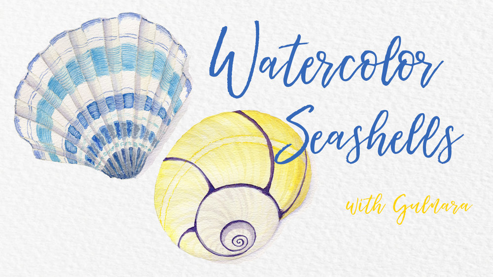 Watercolor Seashells - In this class I will show you how to paint two different sea shells.  I will show step by step how I sketch and paint these sea shells.I teach this class on Skillshare.