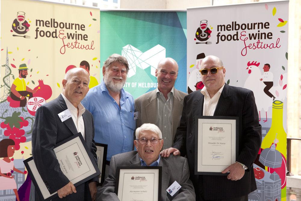 Hermann receiving a 'Melbourne Food and Wine Festival Legend' award