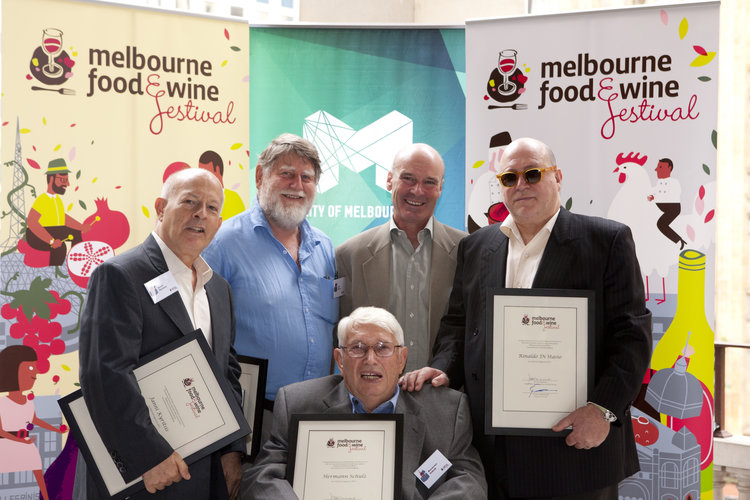 Hermann receiving a 'Melbourne Food and Wine Festival Legend' award