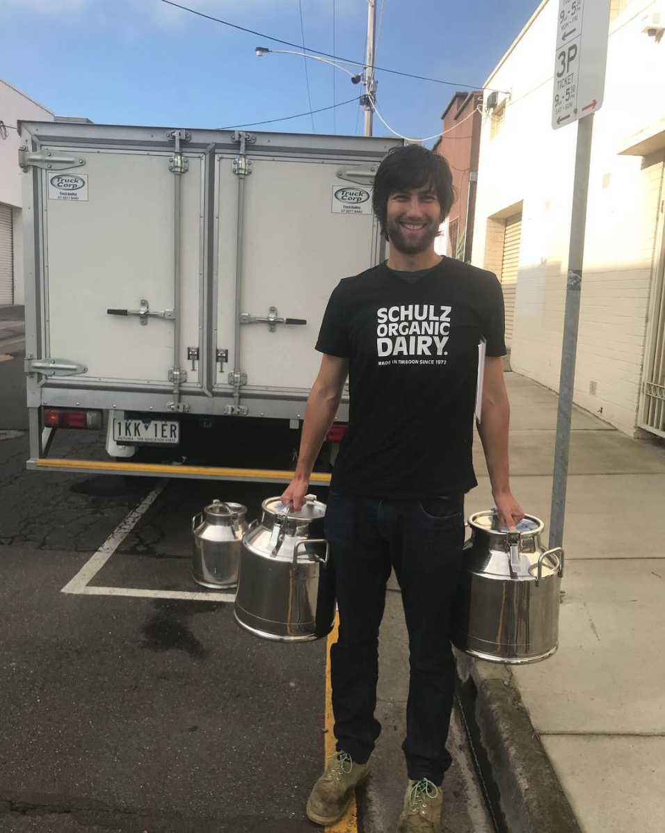 Matthias Schulz delivering to Little Green Corner in Geelong: demand for bulk organic milk is growing amongst Melbourne cafe's and restaurants.