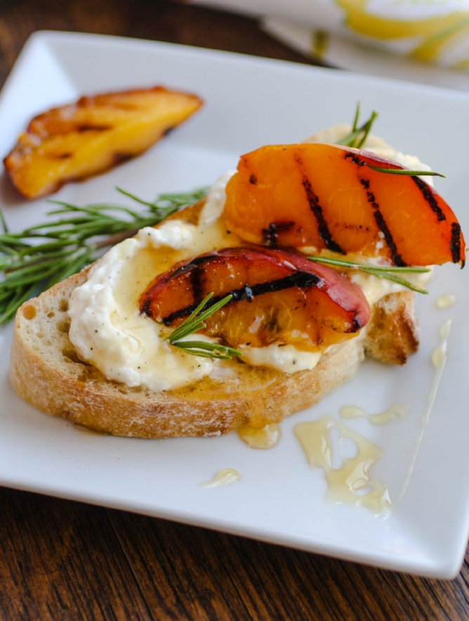 Rosemary Whipped Fetta with Grilled Peaches and Honey Image credit: Patricia,  Grab a Plate