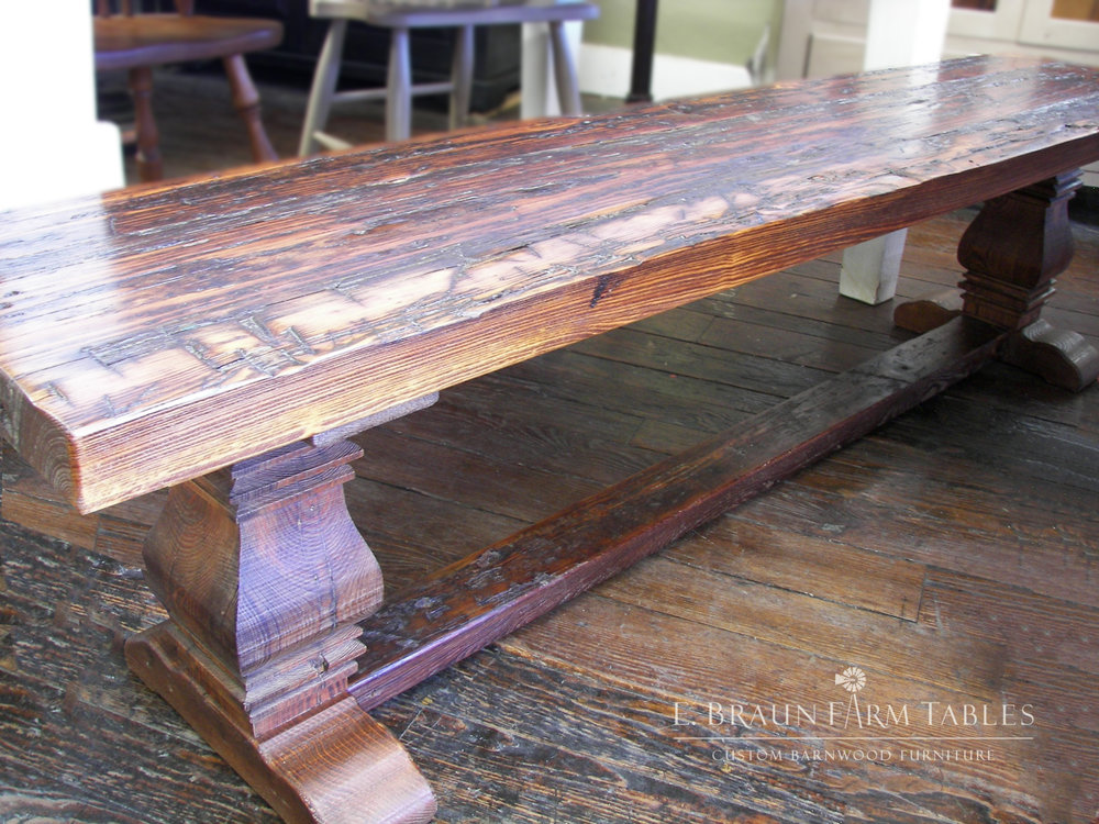 Stained Pear Pedestal Trestle Bench