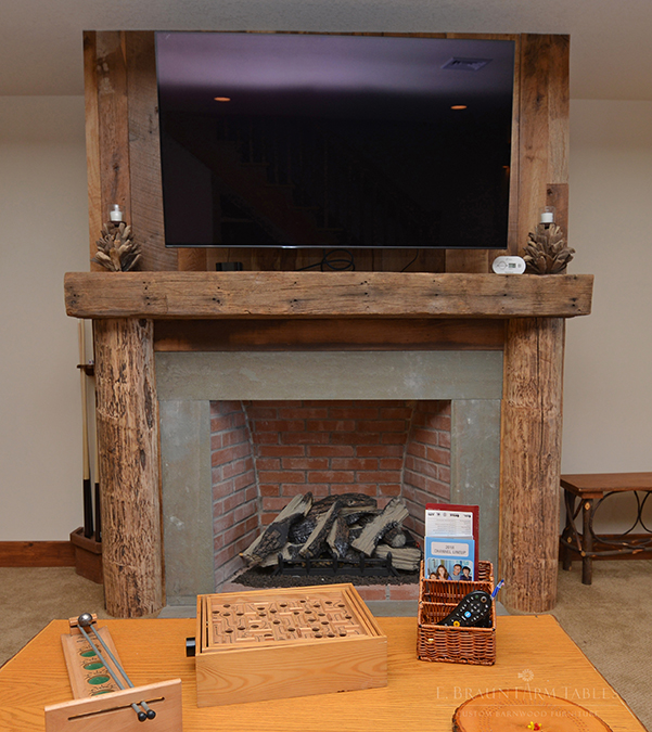 Reclaimed White Pine Beams and Mantel