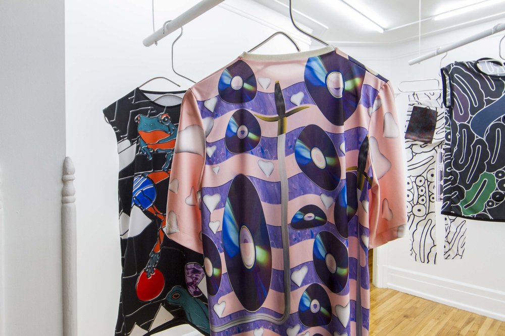 Dawn Interlude  (front),  Déjà vu bleed  (Behind), Dye sublimation on polyester knit, 2014.