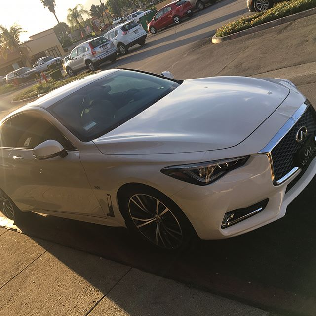 Installed @dubirtint on this brand new #infinity #q60 #dubirtint #servicegroupdistribution #nissan #whitecar #tint #skincancerawareness #skincancerfoundation #cleancar #coupe #ranchocucamonga #upland #5percenttint #20percenttint