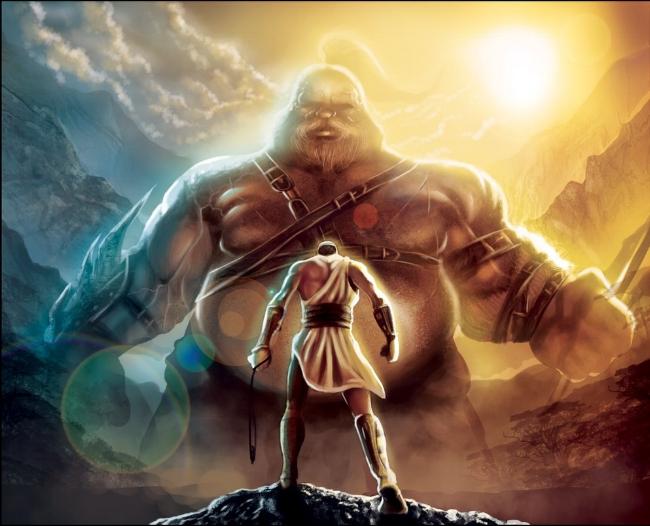 David faces Goliath.