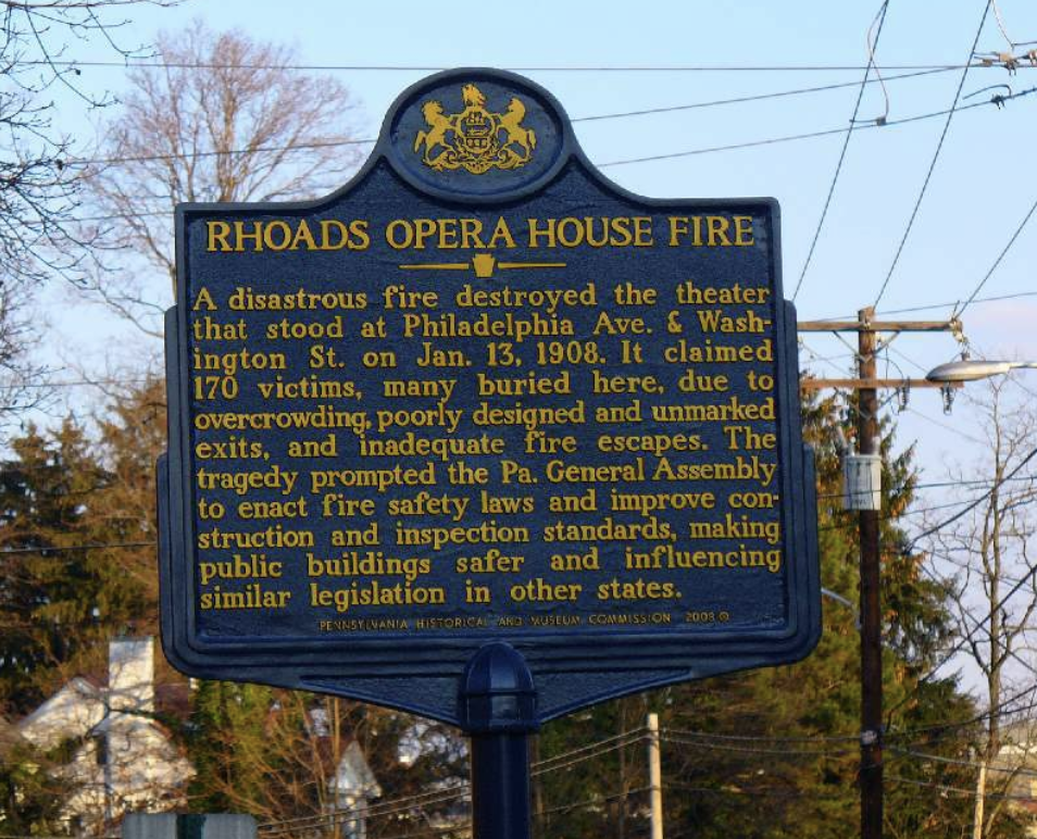 """Rhoads Opera House Fire: A disastrous fire destroyed the theater that stood at Philadelphia Ave. & Washington St. on Jan. 13, 1908. It claimed 170 victims, many buried here, due to overcrowding, poorly designed and unmarked exits, and inadequate fire escapes. The tragedy prompted the Pa. General Assembly to enact fire safety laws and improve construction and inspection standards, making public buildings safer and influencing similar legislation in other states."""