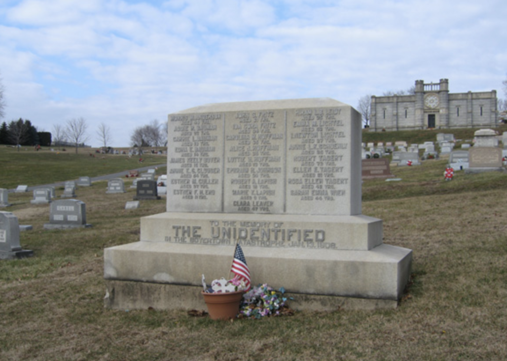 """To the Memory of The Unidentified in the Boyertown Catastrophe Jan. 13, 1908."""