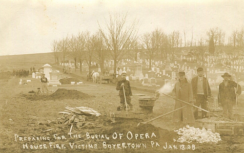 """Preparing for the burial Opera House fire victims Boyertown PA Jan. 13, 08."" More and more graves being added to Fairview Cemetery."