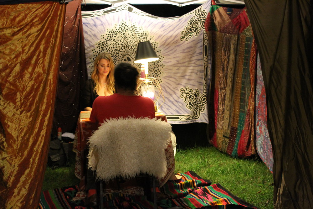 Daughter of Cups & her divination tent at Black Moon Mother's debut.