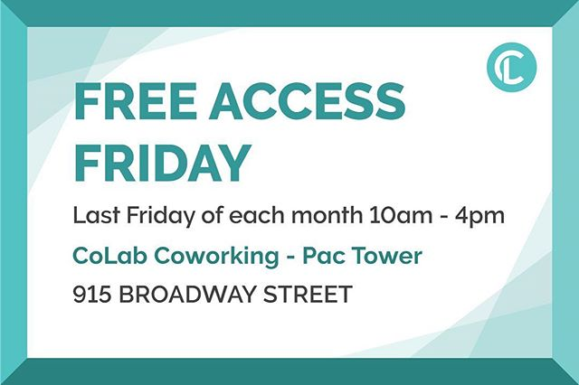 Don't miss out on our next Free Friday - This Friday, November 30th from 10a-4p! ⠀⠀⠀⠀⠀⠀⠀⠀ On the last Friday of each month, we offer free access to our Pac Tower location. ⠀⠀⠀⠀⠀⠀⠀⠀⠀ No need to sign-up, register, or pay. Simply show up and see what coworking is all about! ⠀⠀⠀⠀⠀⠀⠀⠀ #ChooseCommunity #Community #CommunityFirst #CommunityOverCompetition #TogetherIsBetter #TeamWork #Coworking #CoworkingSpace #CoworkingOffice #CoworkingCommunity #MeetingRooms #MeetingSpace #WorkLocal #SupportLocal #RomoteWork #CreativeOffice #OfficeSpace #SharedSpace #SharedWorkSpace #Solopreneur #Entrepreneur #DigitalNomad #Community #PNW #PDX #Vanwa #Vancouver #Washington