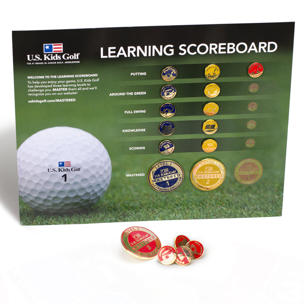 KO Golf Academy utilizes the US Kids Learning pathway allowing students to earn pins and progress through levels as they pass tests and advance their abilities.