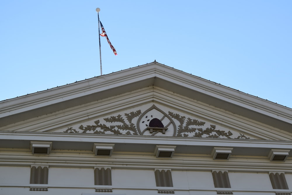 The old Box Elder County Courthouse in Brigham City, Utah (detail).