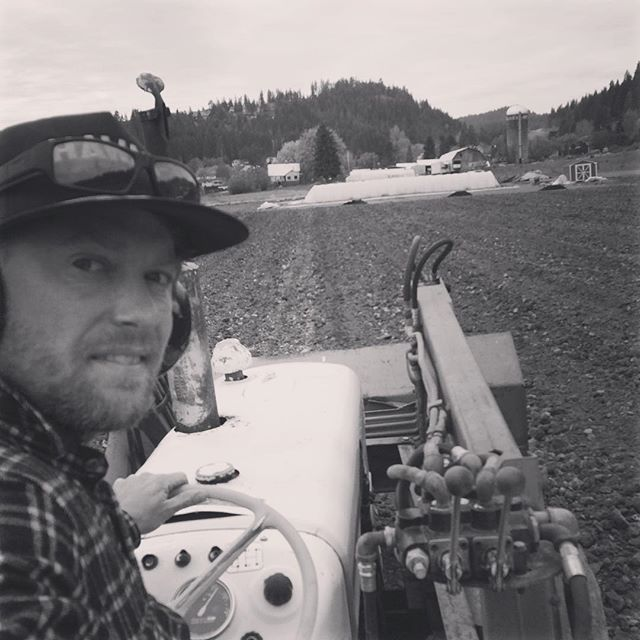 I usually feel pretty cool when I'm tractoring. * black and white hides the excessive amount of dirt on my face in this photo.