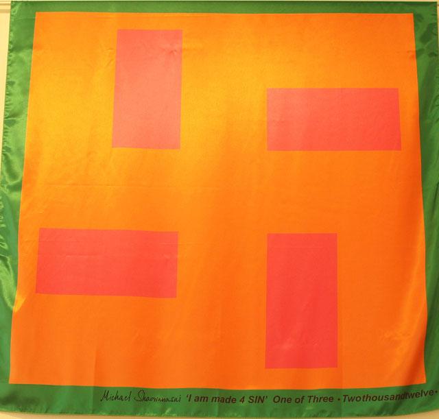 Scarf: Printed Silk - Swastika, Orange and Pink