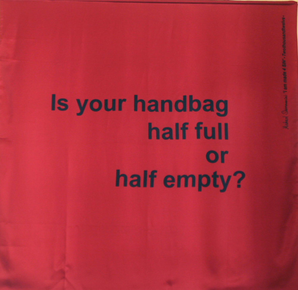 Scarf: Printed Silk - Is Your Handbag Half Full, Red