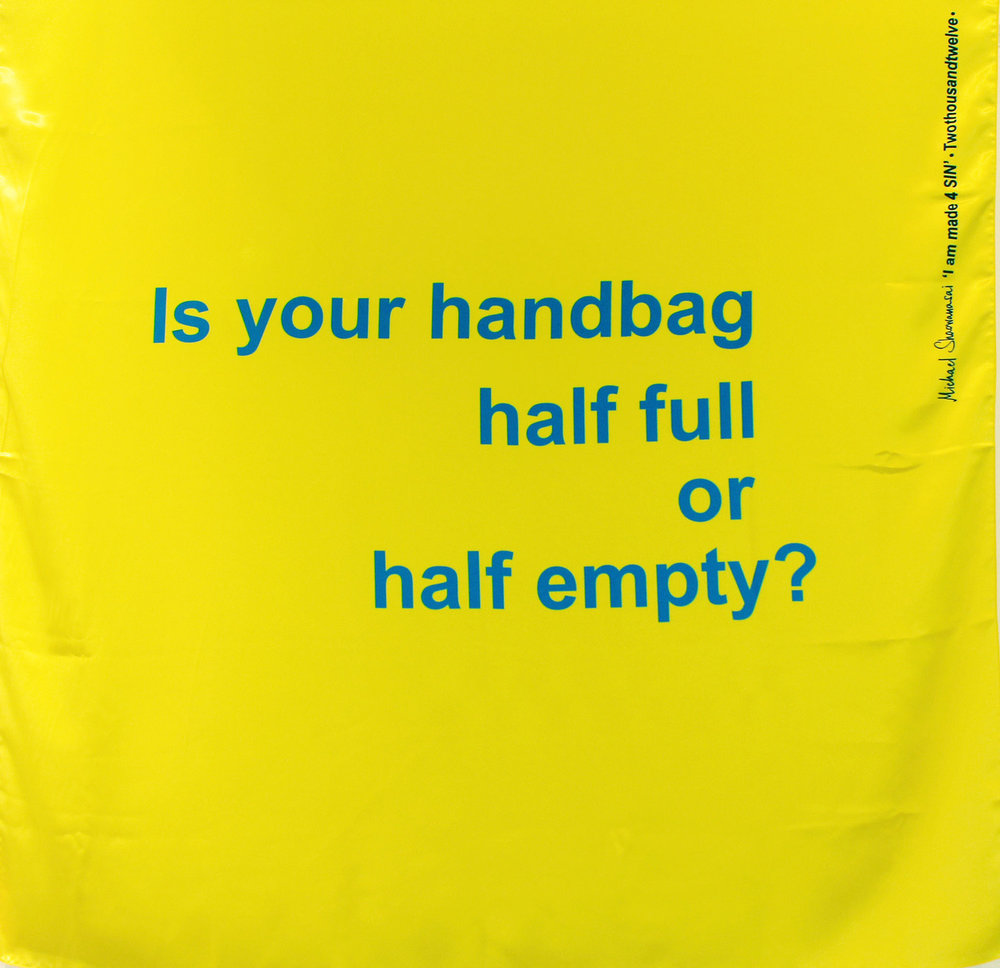 Scarf: Printed Silk - Is Your Handbag Half Full, Yellow