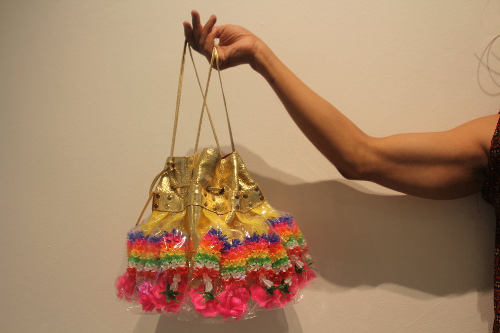 Goddess Bag, Gold Leather and Garlands