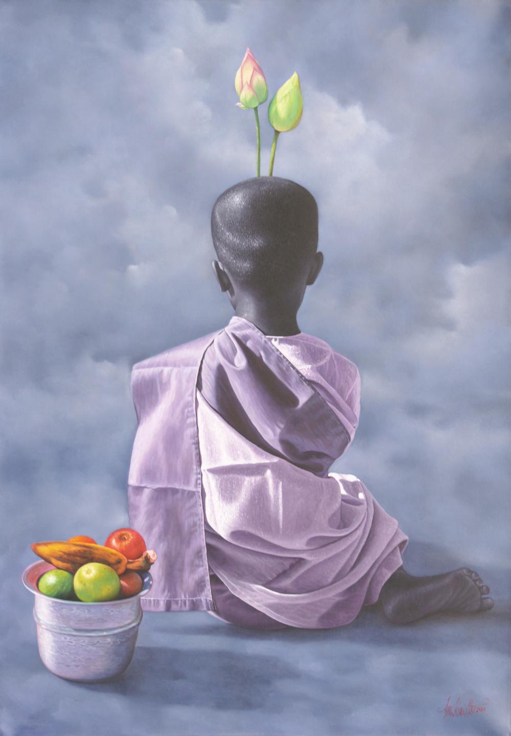 Young Nun with Lotus