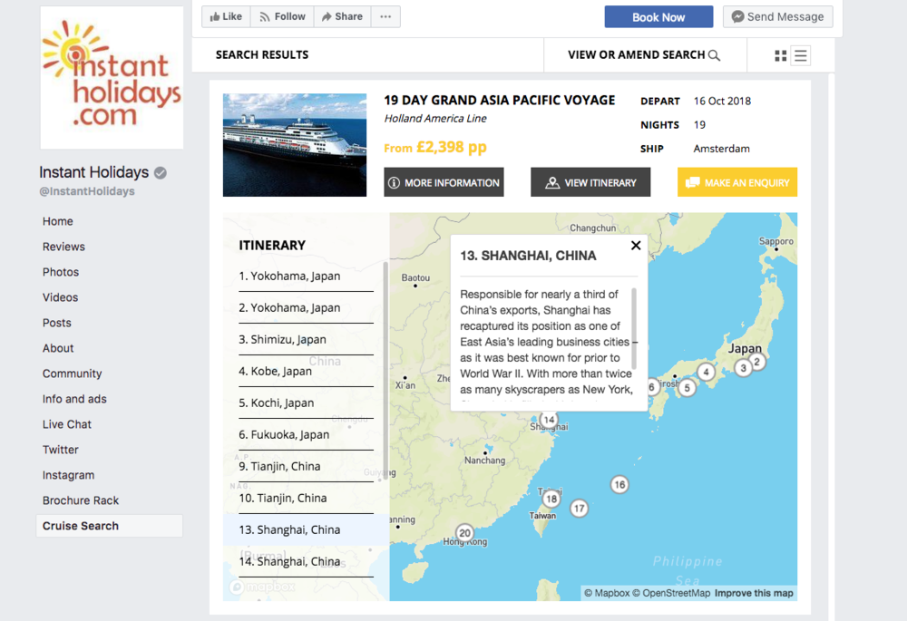 Just gone live, Instant Holidays have their own Cruise Search and Brochure Rack on Facebook.