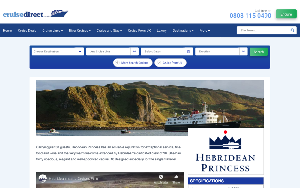 Hebridean Princess on Cruise Direct
