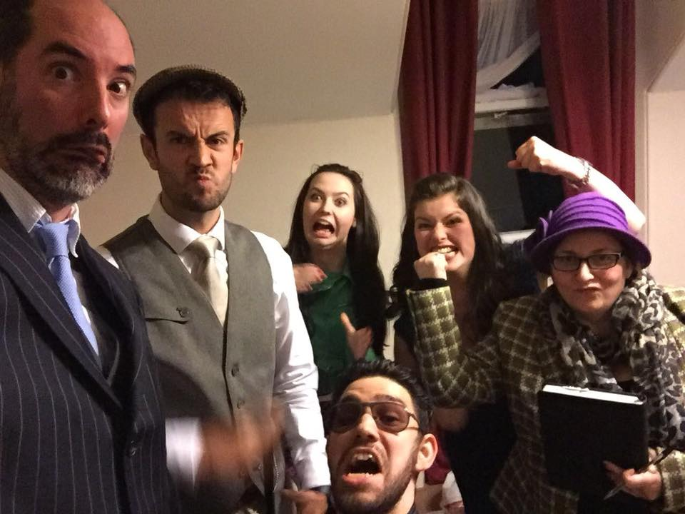 The cast for  Lights, Camera... Murder!  at the Fife Lodge Hotel