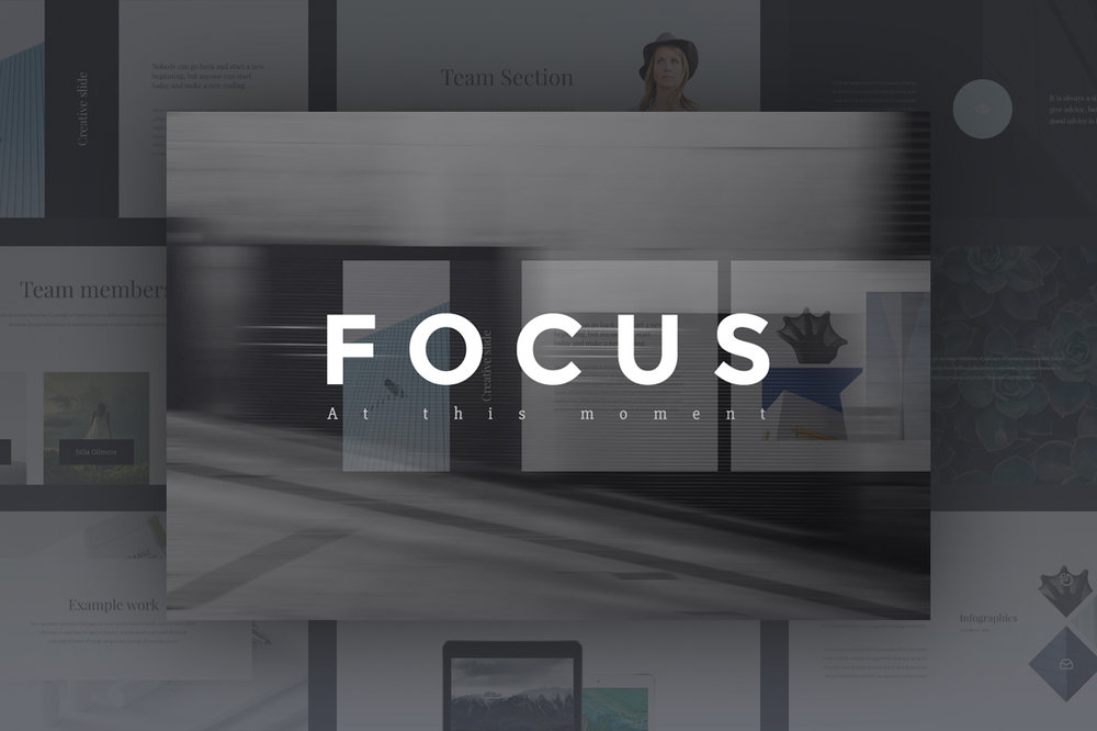 Focus Presentation - Clean & stylish presentation made in a modern style and focusing on the easy submission of information.