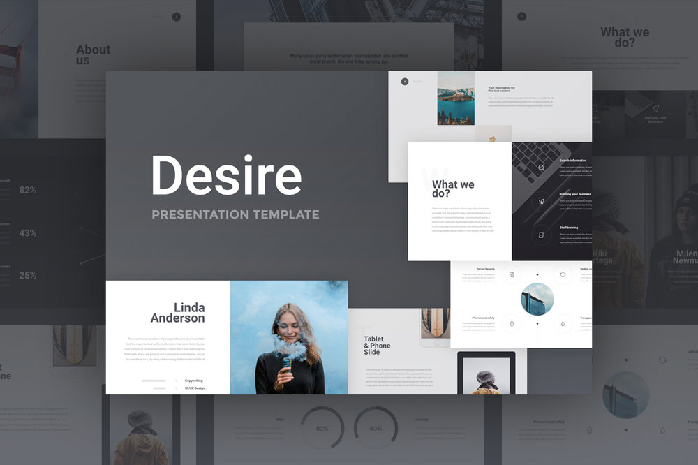 Desire Presentation - Elegant style and stunning fonts make this presentation something to be truly desired.