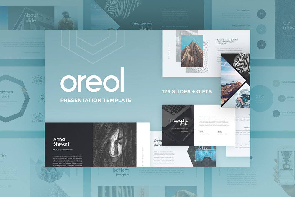 Oreol Presentation - Stunning set of slides ideal for companies, investment projects, start-ups, and many other fields.