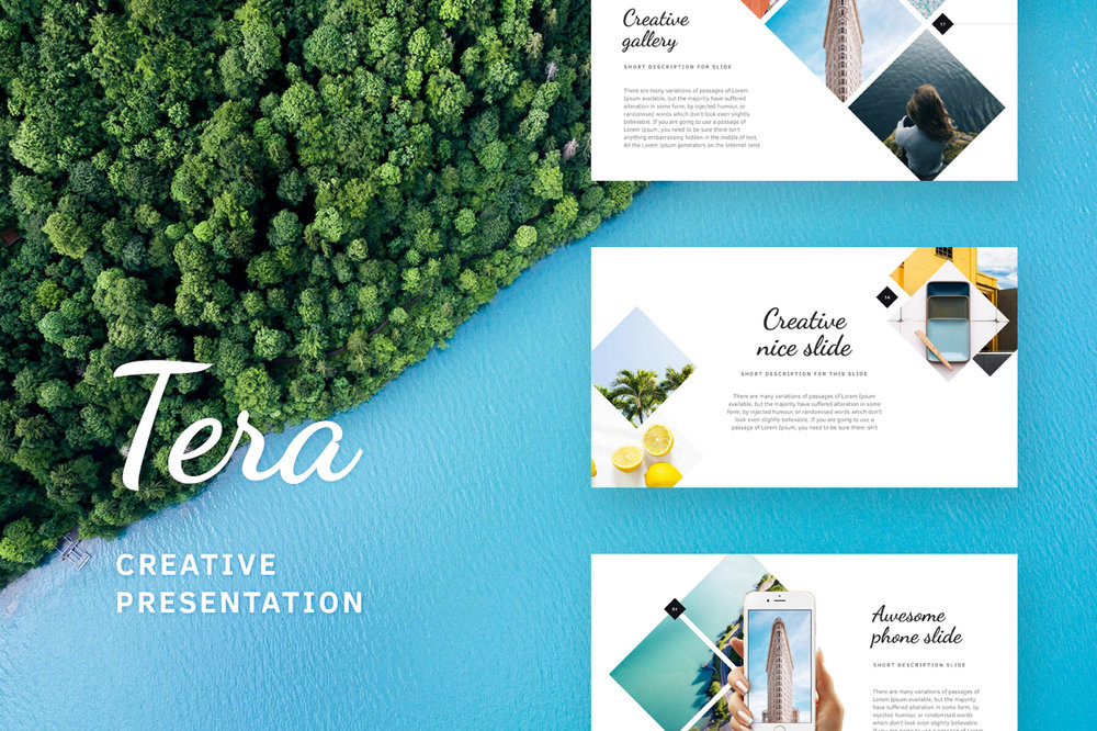 Tera Presentation - Terra, a beautiful PowerPoint and Keynote presentation. Terra contains 152 total creative summer slides.