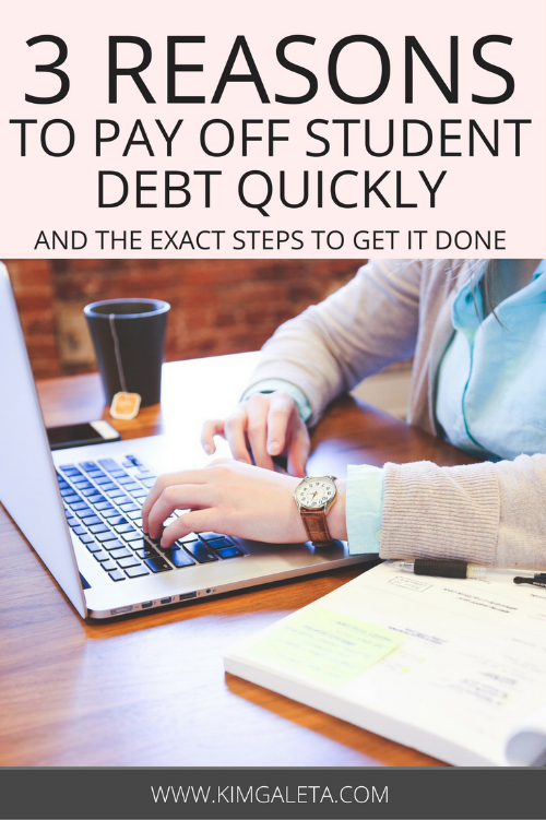 Here are 3 reasons to pay off your student loans quickly and the exact steps to do it. Learning how to pay off your student loans sooner rather than later will put you on a path toward financial freedom and success!