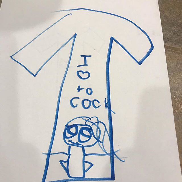 """When your Sweet Little Darling Niece has seen you """"COOK"""" for the past 3 days and wants you to make Shirts with her drawings. I'm sure it's a Best Seller !!! 😂"""
