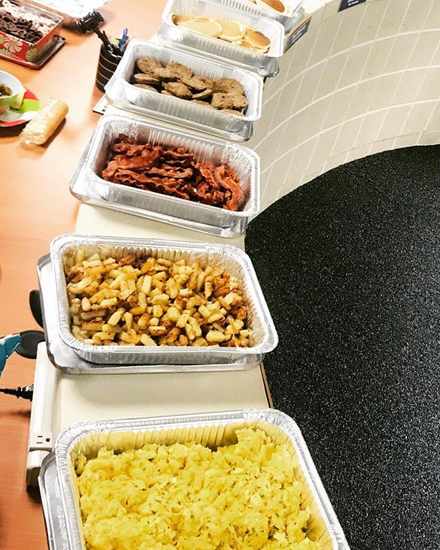 The wonderful Ladies and Gentlemen at the Ingleside Administration will be enjoying a delicious breakfast this morning before going on Christmas break!  Fluffy Eggs, fried potatoes, bacon, sausage, and buttermilk pancakes.