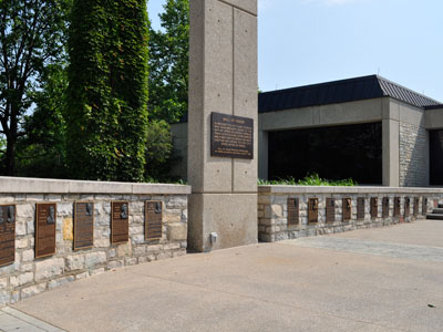 The Wall Of Honor, found outside the Municipal Services Center, honors deceased Upper Arlington residents who contributed greatly to the city, state or nation, by his or her achievements.