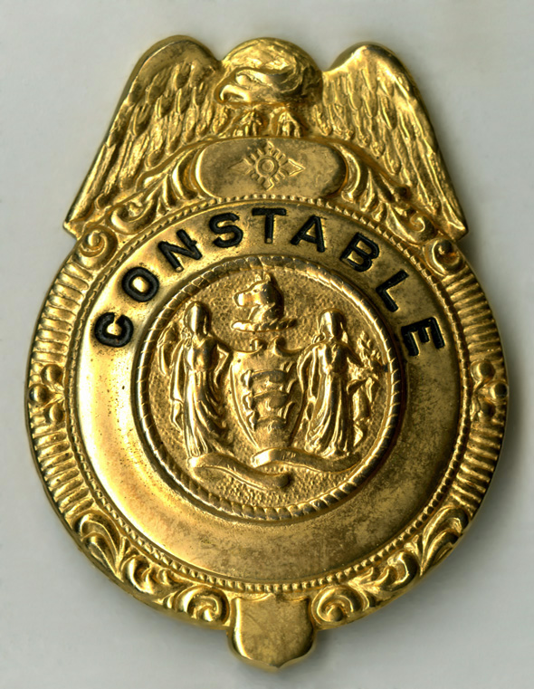 "One of the most fascinating items received on a  ""digitization day"" came from Betty Atkinson, whose husband, Herschel  Atkinson, Jr., was a former Upper Arlington mayor. In addition to his mayoral badge, she brought in this badge from when he was a constable in the Village of UA. (Courtesy of UA Archives.)"