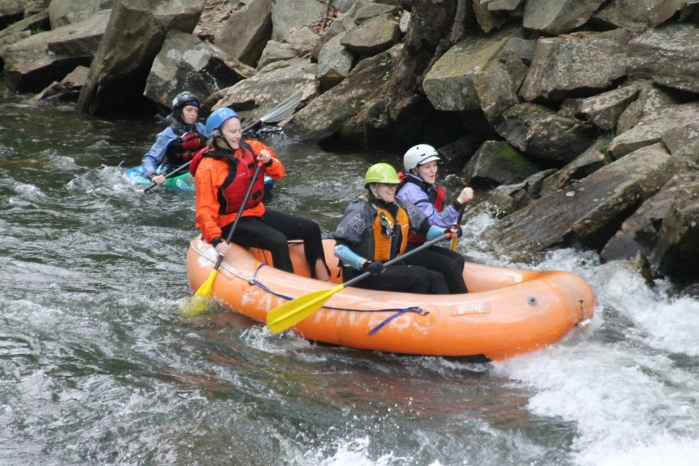 Amanda and some friends rafting the Nantahala on a self- guided rafting trip down the Nantahala.