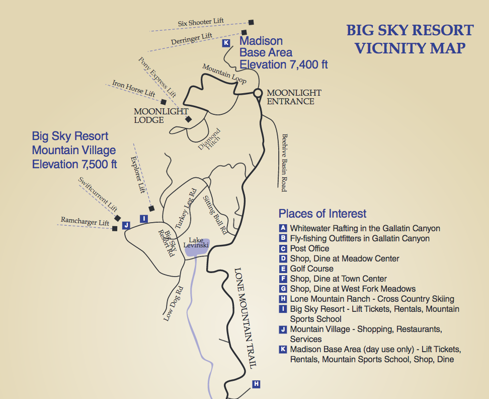 Map Courtesy of Big Sky Resort website