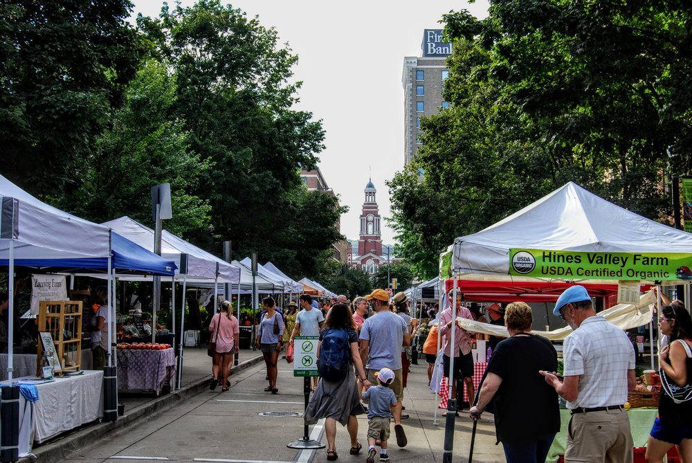 There are a ton of booths at the Farmer's Market
