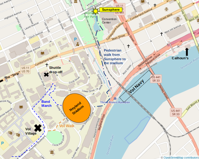 From the Sunsphere, get on the 2nd Creek Greenway to head to the river and the stadium. By the river you can turn left to walk down the Neyland Greenway or right to walk around the stadium to the Vol Village.