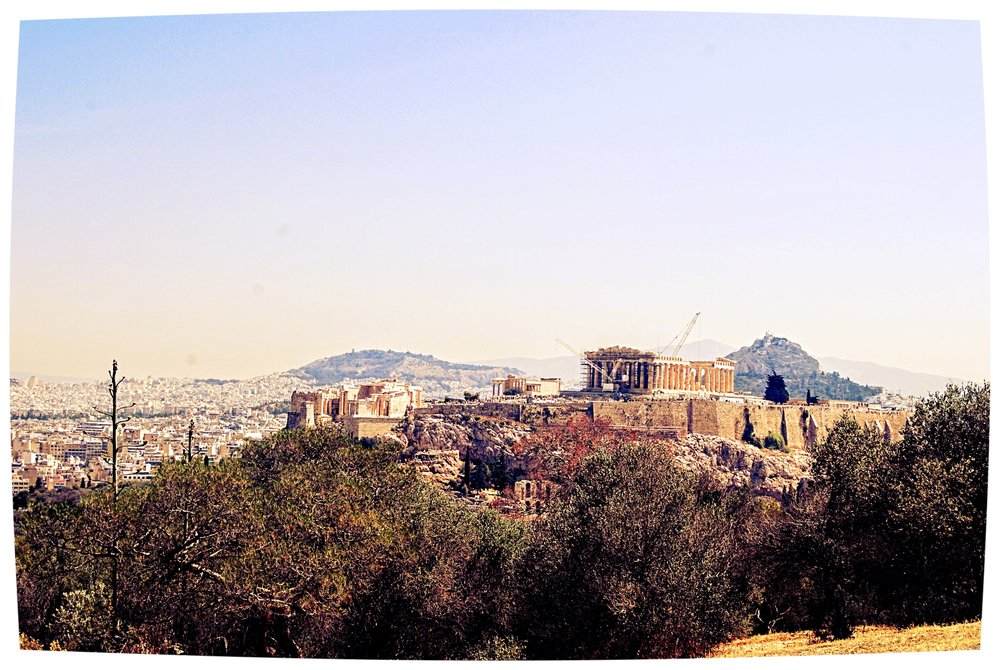 Classic postcard view of the Acropolis from Philopappou Hill