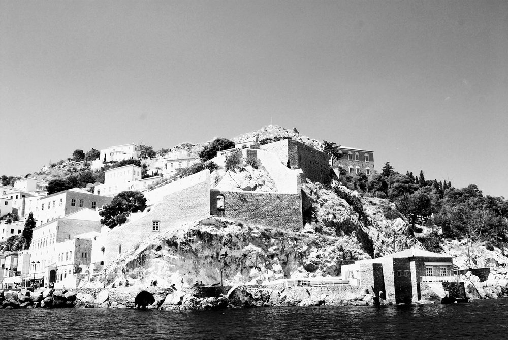 The old bastions guarding Hydra port.
