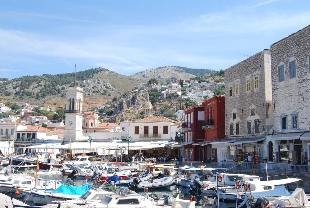 Hydra's busy harbour.