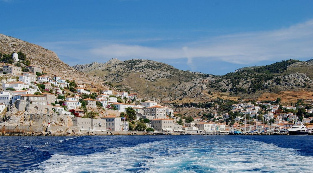 The largest town on Hydra, also called Hydra. Or Hydra port or Hydra town. It is not as confusing as it sounds,I promise.