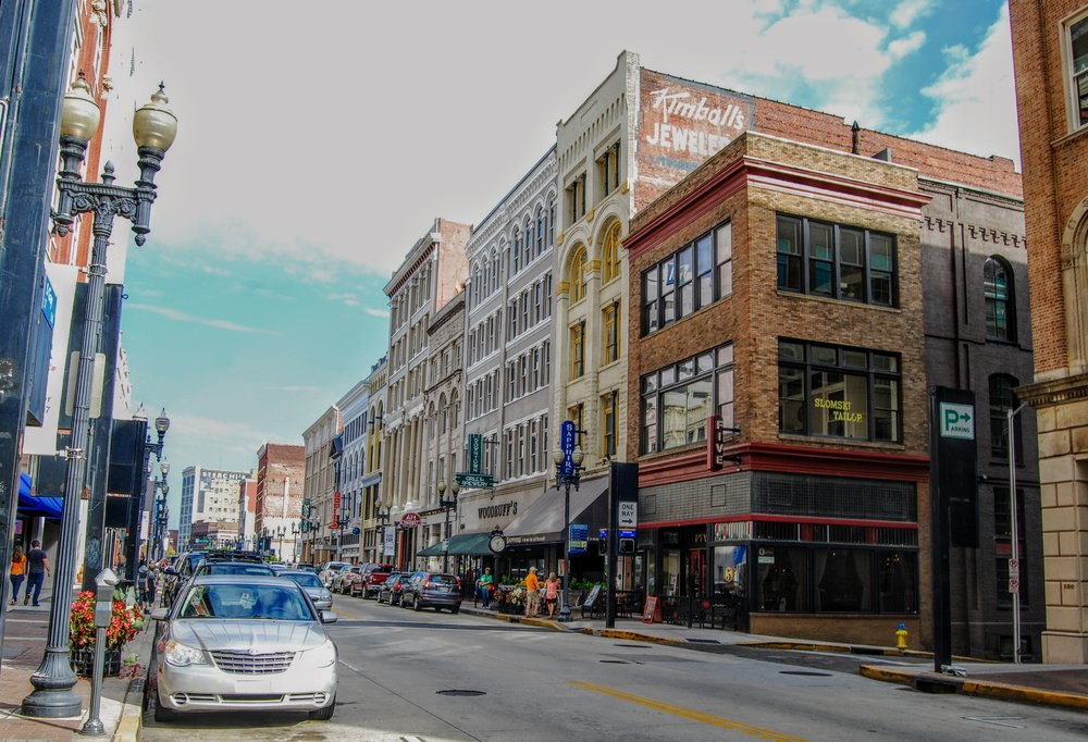 Restaurants, stores, and art galleries on Gay St