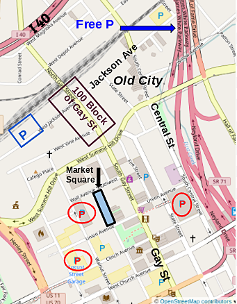 Map of downtown and the Old City with parking lots and garages marked