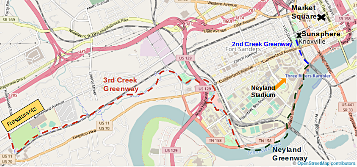 Overview of the route connecting the 2nd Creek, Neyland, and 3rd Creek Greenways
