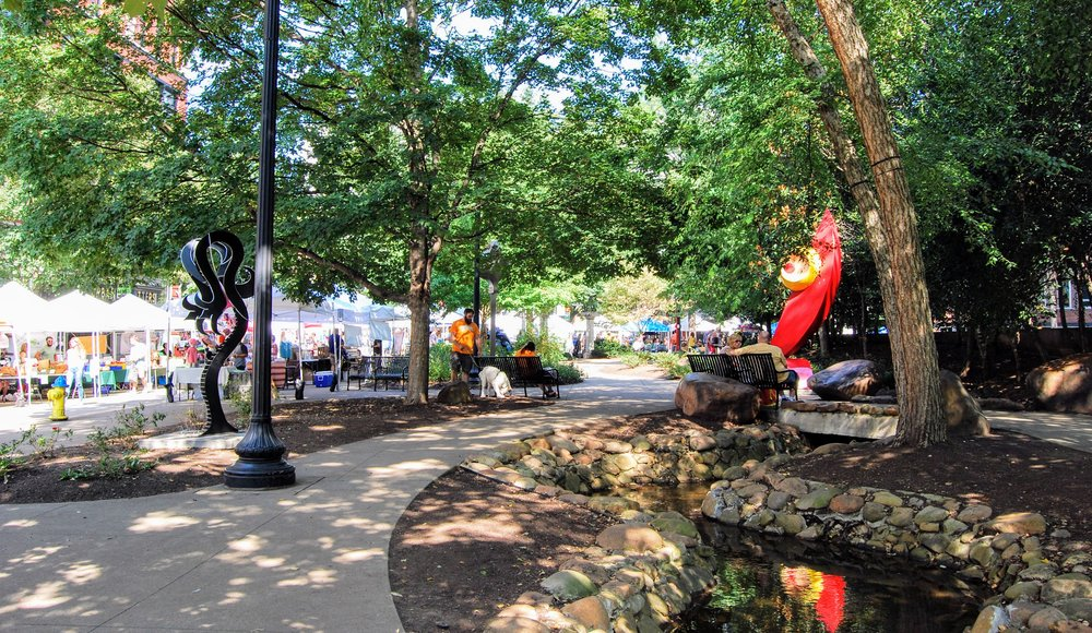 Ever changing sculptures in Krutch Park