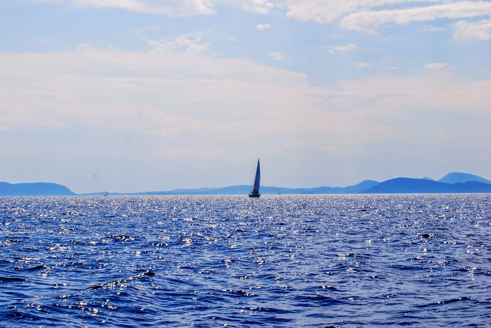 Sailing off the coast of the Peloponnese.