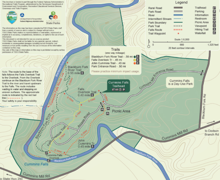 Map  Courtesy of TN State Parks
