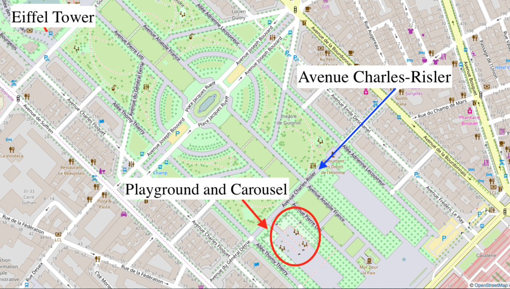 Champs de Mars Park. Map courtesy of openstreetmaps.org